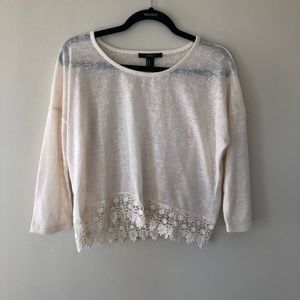 Forever 21 Cropped Lace Sweater